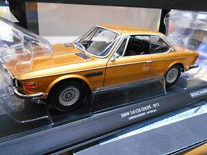 BMW 3.0 CSI CS CSL Coupe gold golden met E9 1972 Minichamps RAR 1:18