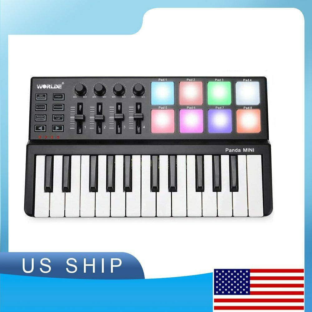 for Mac and PC CAMOLA Worlde Portable 25 Key USB MIDI Keyboard Controller with 8 Drum Pads Wood Imitation Rim Pedal Interface 8 Faders 8 Knobs