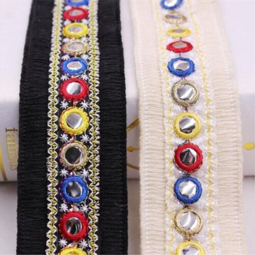 DIY 2 Yards Embroidered mirror fringed lace Shoes hat clothing accessories Lace