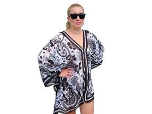 Black-Kaftan-Top-Plus-Size-Silk-Beach-Coverup-Paisley-Stylish-Resort-Cruise-wear
