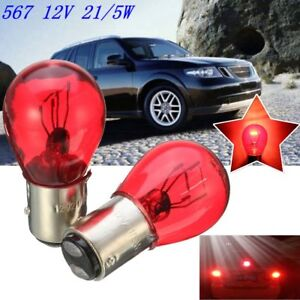 Red-12V-Brake-Stop-Tail-Light-Car-Bulb-567-BAW15D-For-GM-Ford-SAAB-BAY15d-OSP
