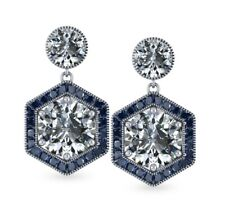 A la carte 925 Sterling Silver CZ two tone Cushion White Round stud Earrings