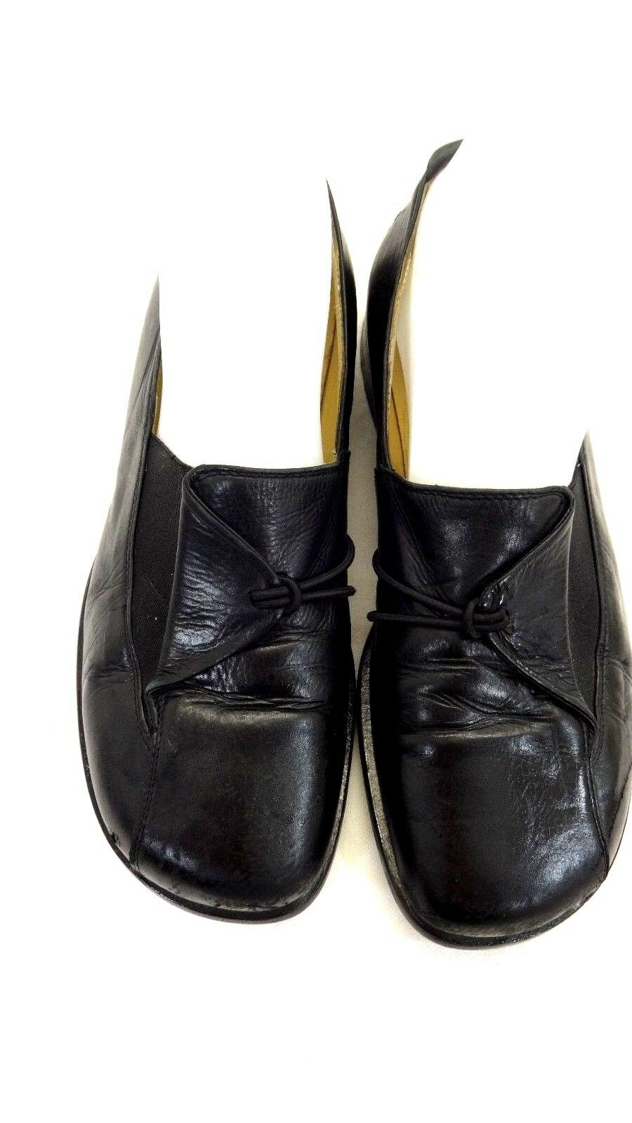 PRIALPAS GOMMA WOMENS BLACK LEATHER LOAFERS SIZE 7M   37.5 EURO