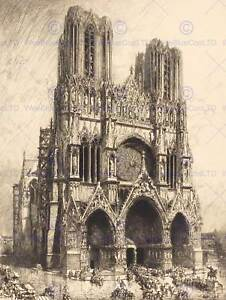 AUGUSTE-LEPERE-FRENCH-REIMS-CATHEDRAL-OLD-ART-PAINTING-POSTER-PRINT-BB4885B