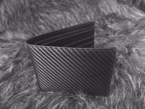 Black Soft Calf Leather Bi-Fold Wallet Men Matte Black Carbon Fiber