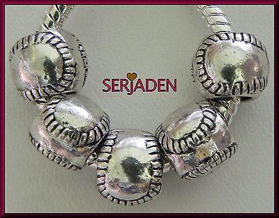5 Sports Baseball Charm Spacers 8  x 9 & 5 mm hole Fits European Jewelry S027