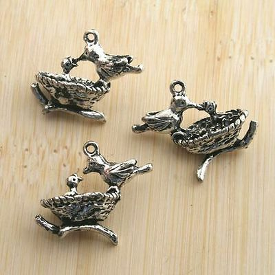 8pcs antiqued silver airplane pendant charm G594