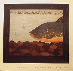 art-print-STREAM-DECISION-Warren-Kimble-fish-fishing-folk-primitive-lure-18x18