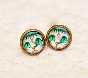 Alice-in-wonderland-Cheshire-Cat-charm-stud-clip-on-earrings-multiple-choices