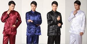 Wholesale Chinese men s style silk satin kung fu suit pajamas SZ ... cb928f77b