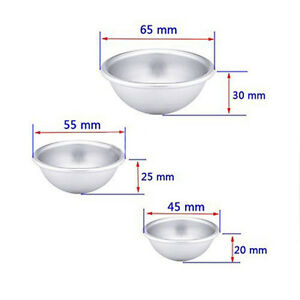2pcs Set Aluminum Semicircle Sphere Round Ball Bath Bomb Molds 3 Size DIY
