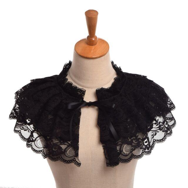Retro Lace Balck Neck Ruff  Victorian Steampunk Lolita Neck Collar Mini Cape