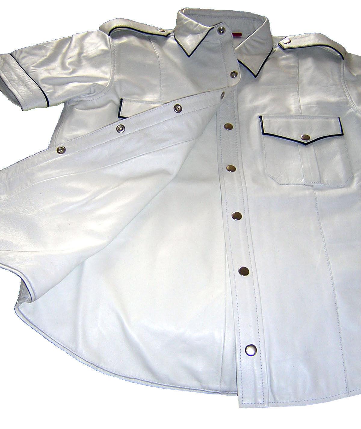 Camicia IN PELLE NUOVO BIANCO NERO CAMICIA PIEGHE BIANCO in PELLE Leather Shirt bianca New cuir
