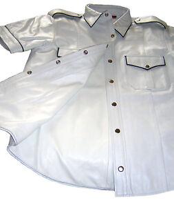 Shirt Leder White Lederhemd Weiß Leather Weiss Schwarze Biesen New Hemd Cuir Neu 8wXfAwqa
