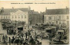 CP / BELGIQUE / CAMPAGNE DE 1914 POPERINGHE CHAR DE RAVITAILLEMENT SUR LA PLACE