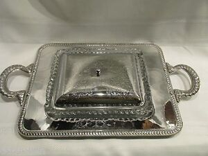 Details About Vintage Chrome Serving Tray W Gl Insert Lid 1950s Etched Handles