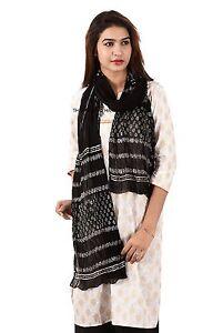 Vintage-Block-Print-Dupatta-Long-Indian-Scarf-Fabric-Decor-Black-Veil-Stole-Boho