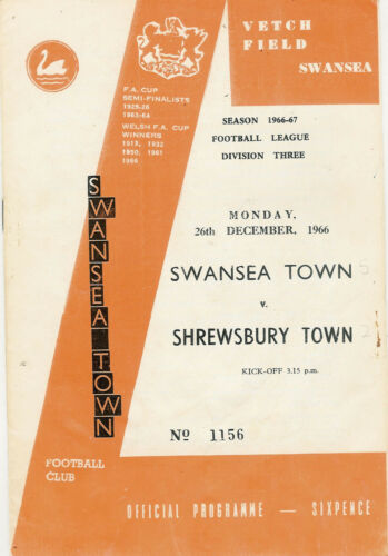 Swansea Town now City v Shrewsbury Town 26 Dec 1966 FOOTBALL PROGRAMME