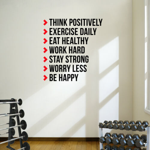 Think Positively Workout Quote Wall Decal Sticker Home Gym Fitness Health