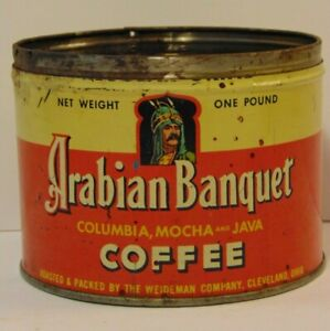 Old-Vintage-1950s-ARABIAN-BANQUET-GRAPHIC-COFFEE-TIN-ONE-POUND-CLEVELAND-OHIO-OH
