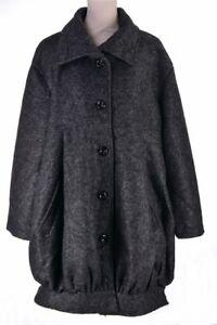 super populaire ade9a 44ba6 Détails sur Manteau Femme Grande Taille 46 48 Ample Hiver 40% Laine Noir  Gris chiné Romanov