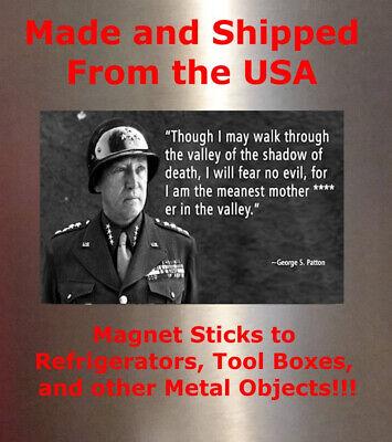 General George Patton Man Cave SIGN 4x6 magnet Refrigerator Fridge Bar DECOR MOT