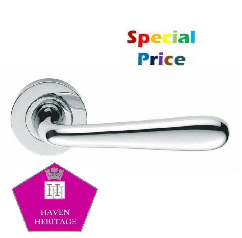 5 Interior Door Handle Sets Chrome Finish Lever on Round Rose Door Handles D12