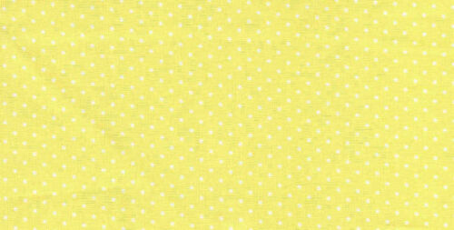 Mini White Polka Dots on Yellow 100/% Cotton Fabric BTY Half Yard w8-5