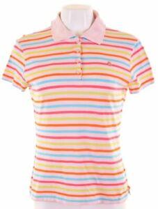 BENETTON-Womens-Polo-Shirt-Size-10-Small-Pink-Striped-Cotton-KJ23