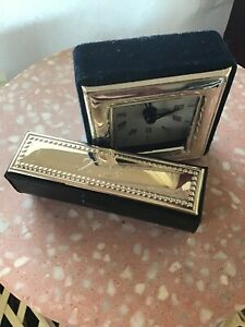 Silver-Plate-Clock-And-Lipstick-Holder
