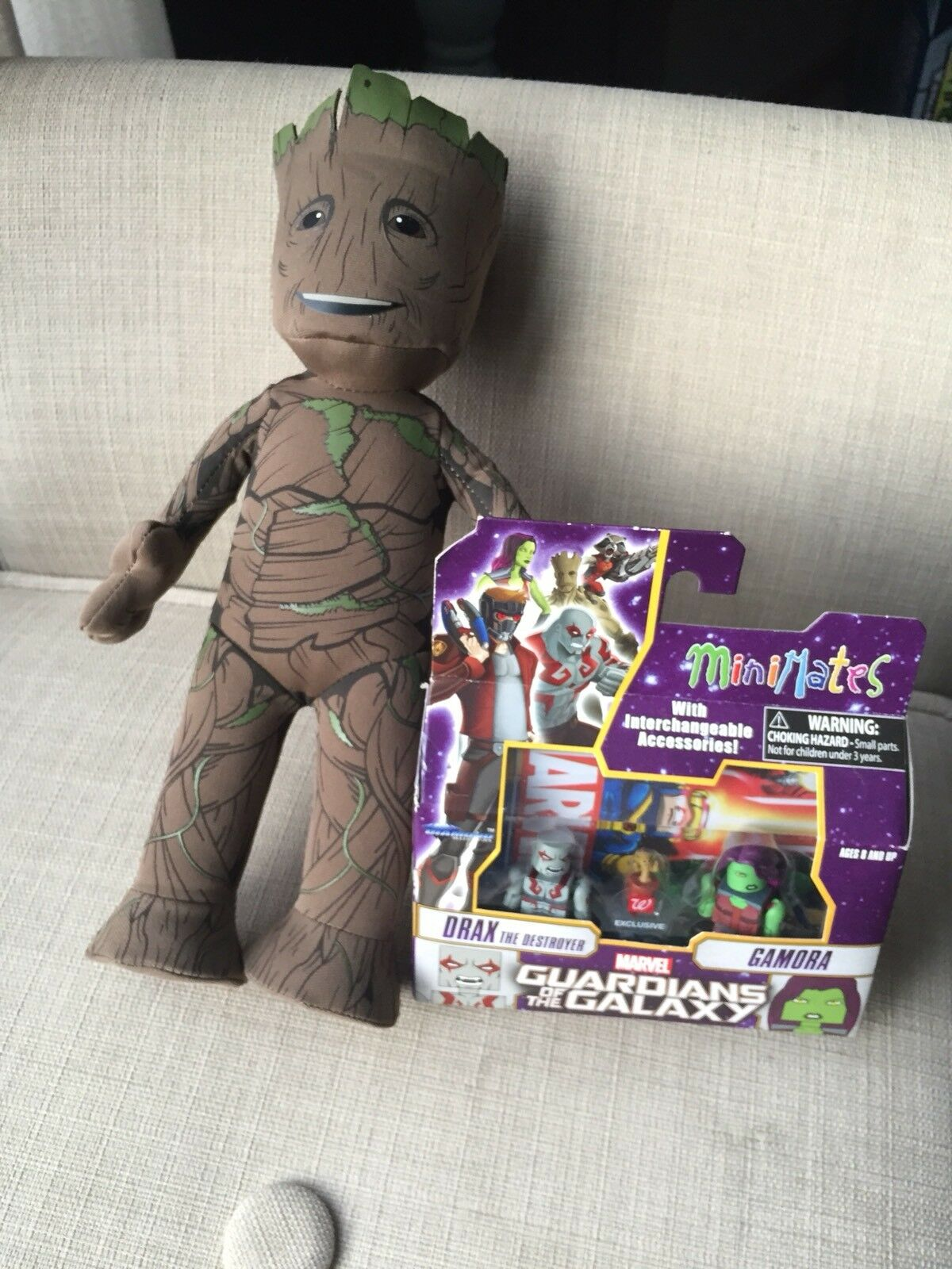 Marvel Groot Plush With Guardians Of The Galaxy Mini Mini Mini Mates NIP e54794