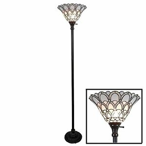 Details About 72in Floor Torchiere Lamp Switch White Jewel Tiffany Style Up Light Shade
