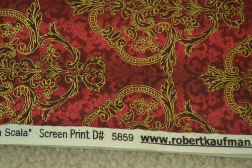 """Gold on Reds on Quilter/'s Cotton Kaufman M6476 44/"""" Wide By-the-Half-Yard"""