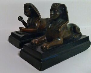 **Extremely old Pair of unique Bronze and Slate Egyptian Giza Sphinx statues