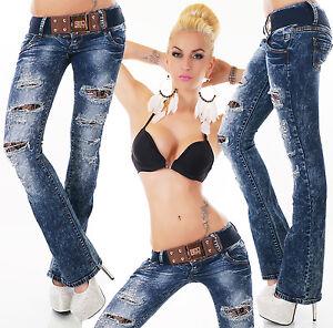 SeXy-Damen-MiSS-Retro-Risse-Spitze-Hueft-Hose-LoW-CuT-Jeans-Guertel-32-34-36-38-40