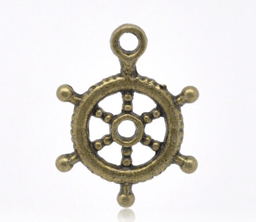 10 x Metal Antique Bronze Captain/'s wheel Charms Pendants Jewellery making ship