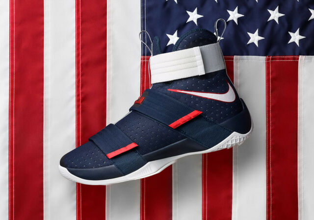wholesale dealer 9e0f8 776a6 Nike Lebron Soldier X 10 SFG USA Olympic July 4th Independence Day Blue  White 9