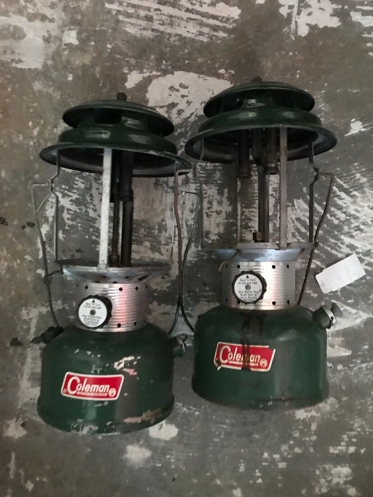 Vintage 1972+69  Coleman Green 220F Lantern Lamp 2pc Lot  waiting for you