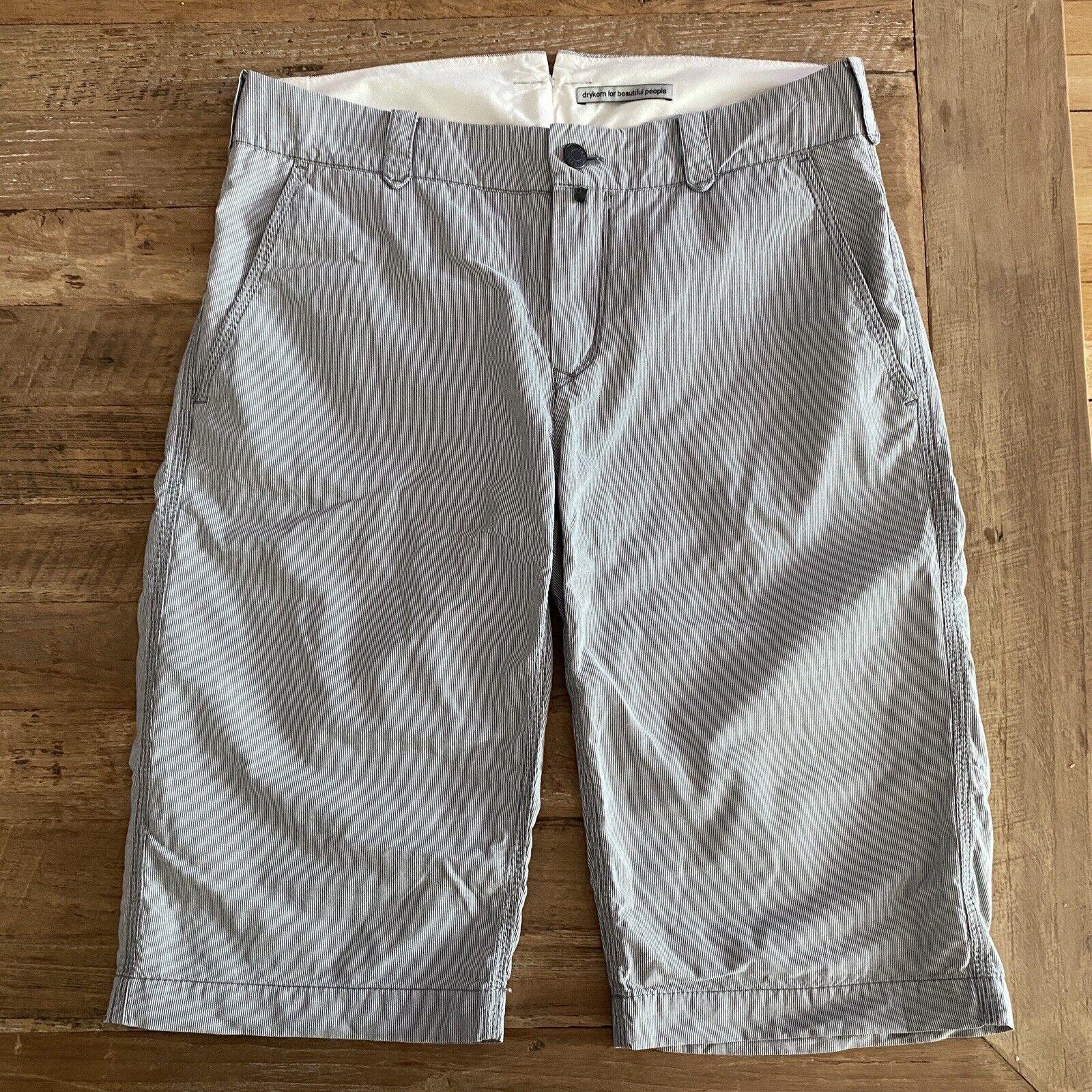 DRYKORN Bermudas Shorts Chino inch27 Gr. S / 36 grau-weiß fein gestreift *Neu