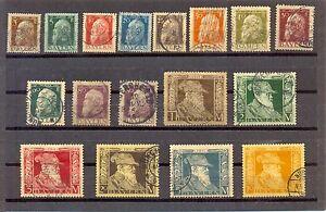 ALEMANIA-BAYERN-1911-YT-n-76-91-USADOS-16-VALORES-SERIE-COMPLETA