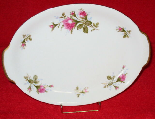 "Vintage 1950s Moss Rose China Mediium Sized Serving Platter 11.5"" Long No Damage"