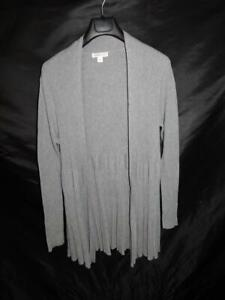 Coldwater-Creek-L-Gray-Tunic-Sweater-Open-Front-Cotton-Ribbed-Knit-Long-Sleeve-l