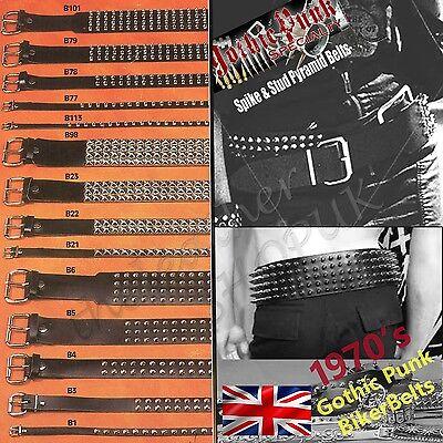 Cinture In Pelle Punk Gothic Rock Con Borchie Bullet Spike & Stud Cinture Unisex Fatta In Uk-mostra Il Titolo Originale