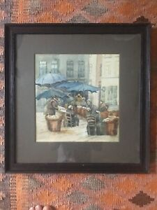 Antique-Watercolour-Street-Scene-Figures-By-Umbrellas-Mounted-And-Framed