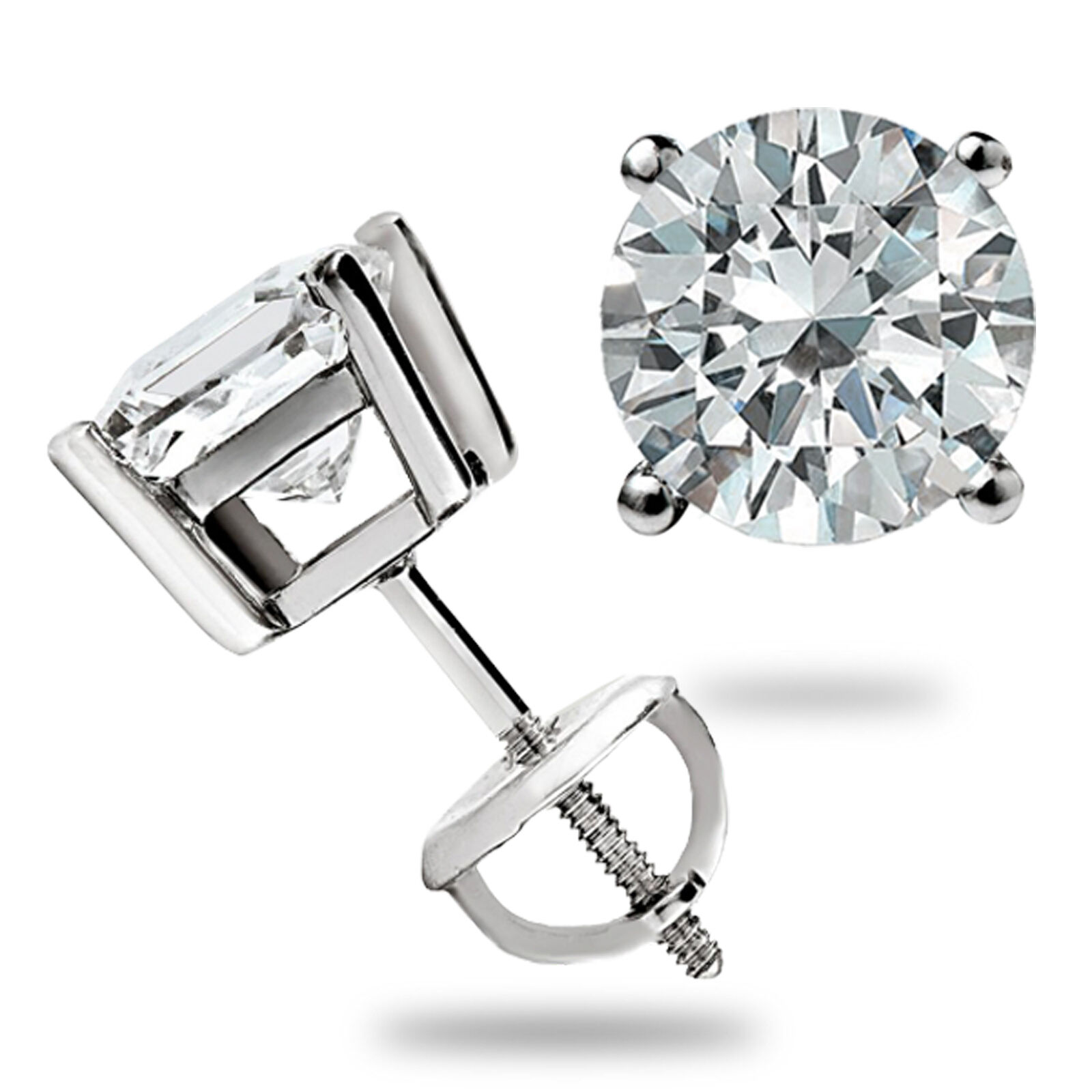 3 0 Ct Round Cut Basket Screw Back Lab Diamond Earrings Solid 14k White Gold