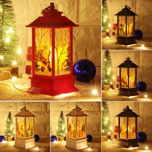 Natale-Babbo-Natale-Pupazzo-di-neve-Castello-di-Cervo-Lampada-Luce-Lanterna-Da-Appendere-Ornamento