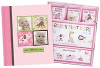 Silly Monkey Baby Girl - Baby's First Five Years Keepsake Record Book with Box