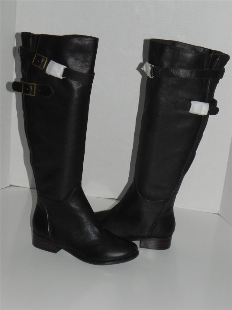 Reba Stand Dark Marronee Leather Buckle Knee High stivali 7.5