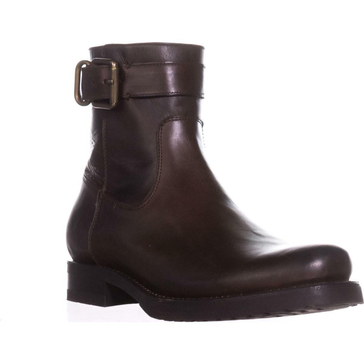 Frye VERONICA Chocolate Strap Zip Short Ankle Boots shoes Flats Multi Size NIB