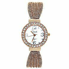 Cussi-Women-039-s-Rose-Gold-Stainless-Steel-Diamond-Frame-Alloy-Band-Strap-Watch